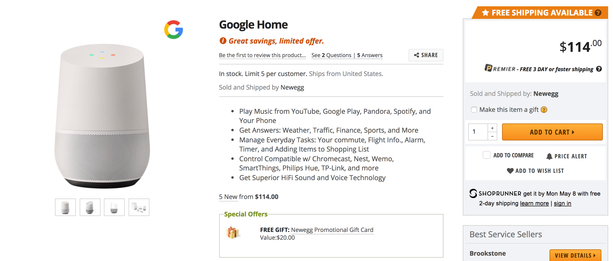 Google Home for $15 off plus $20